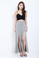 FLOWY SLIT PANTS IN GREY - TOPAZETTE