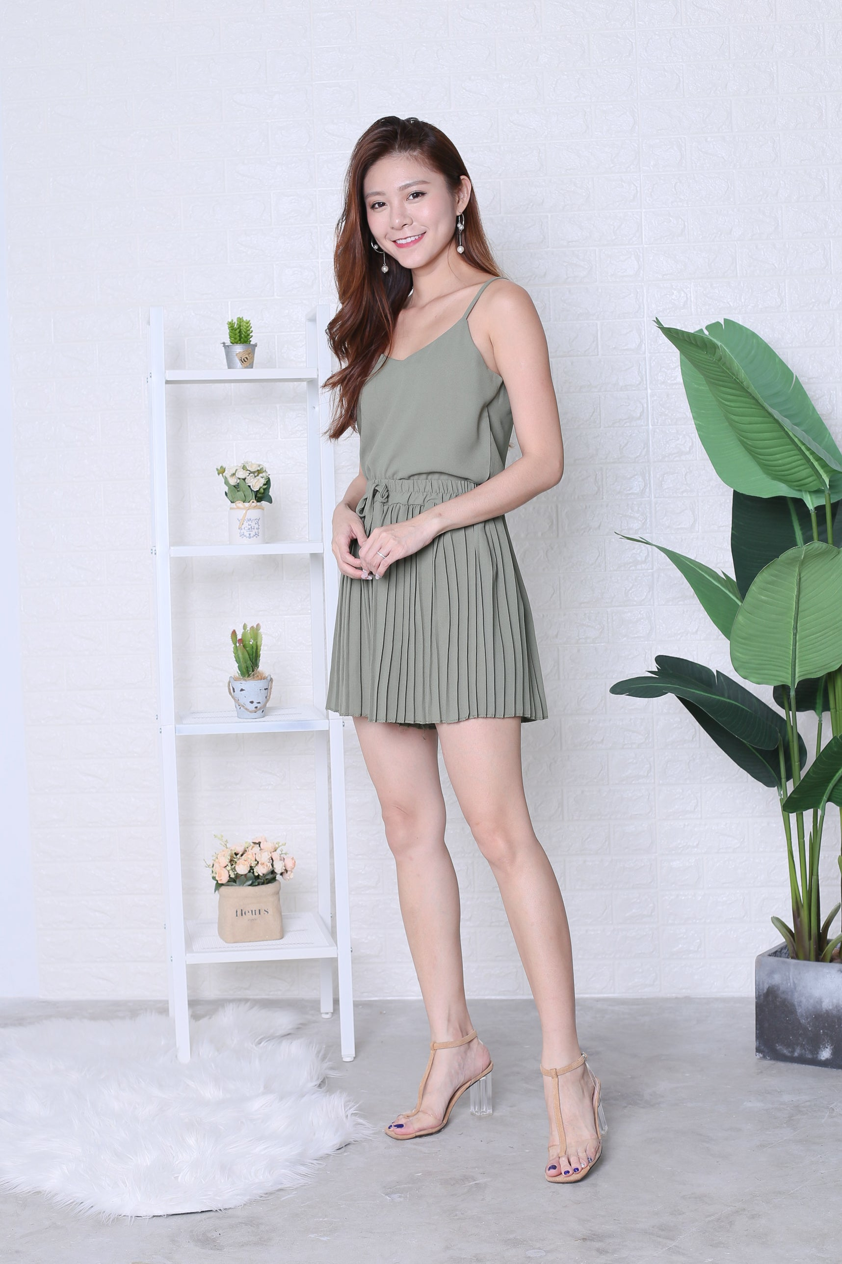 PLEATED DREAMS 2 PC SET IN SAGE GREEN
