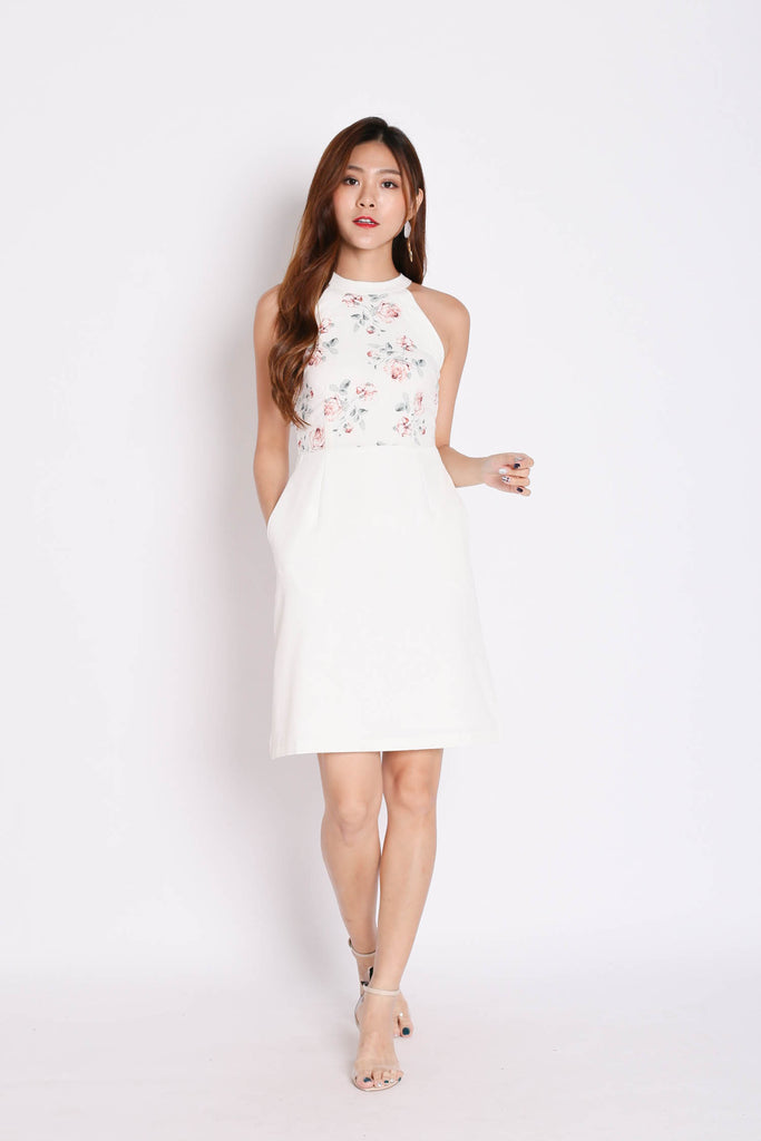 *TPZ* (PREMIUM) DACI FLORAL HALTER DRESS IN WHITE - TOPAZETTE
