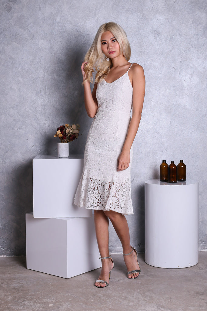 *RESTOCKED* (PREMIUM) *TOPAZ* TESS LACE MERMAID MIDI DRESS IN WHITE - TOPAZETTE