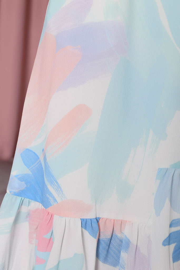 *TPZ* (PREMIUM) ZIA WATERCOLOUR ABSTRACT DRESS IN BLUE/GREEN HUE - TOPAZETTE