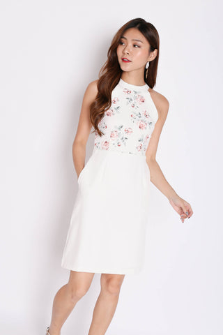 *TPZ* (PREMIUM) DACI FLORAL HALTER DRESS IN WHITE