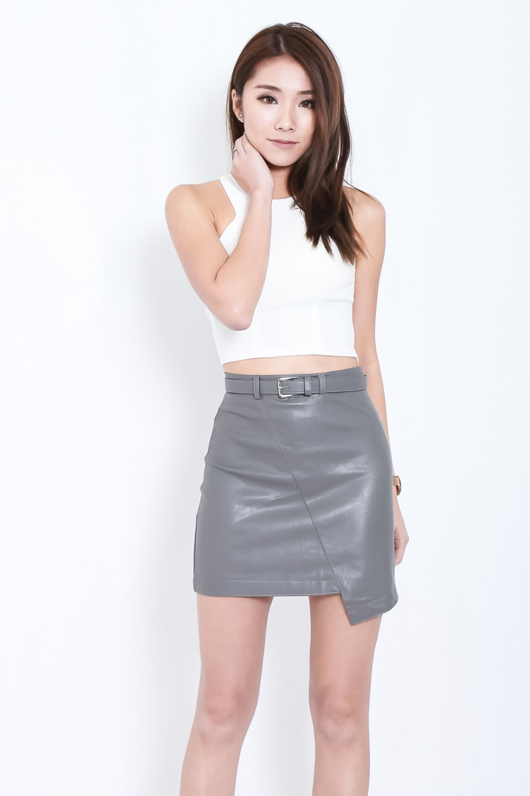 LEWIS ASYMMETRICAL LEATHER SKIRT IN GREY - TOPAZETTE