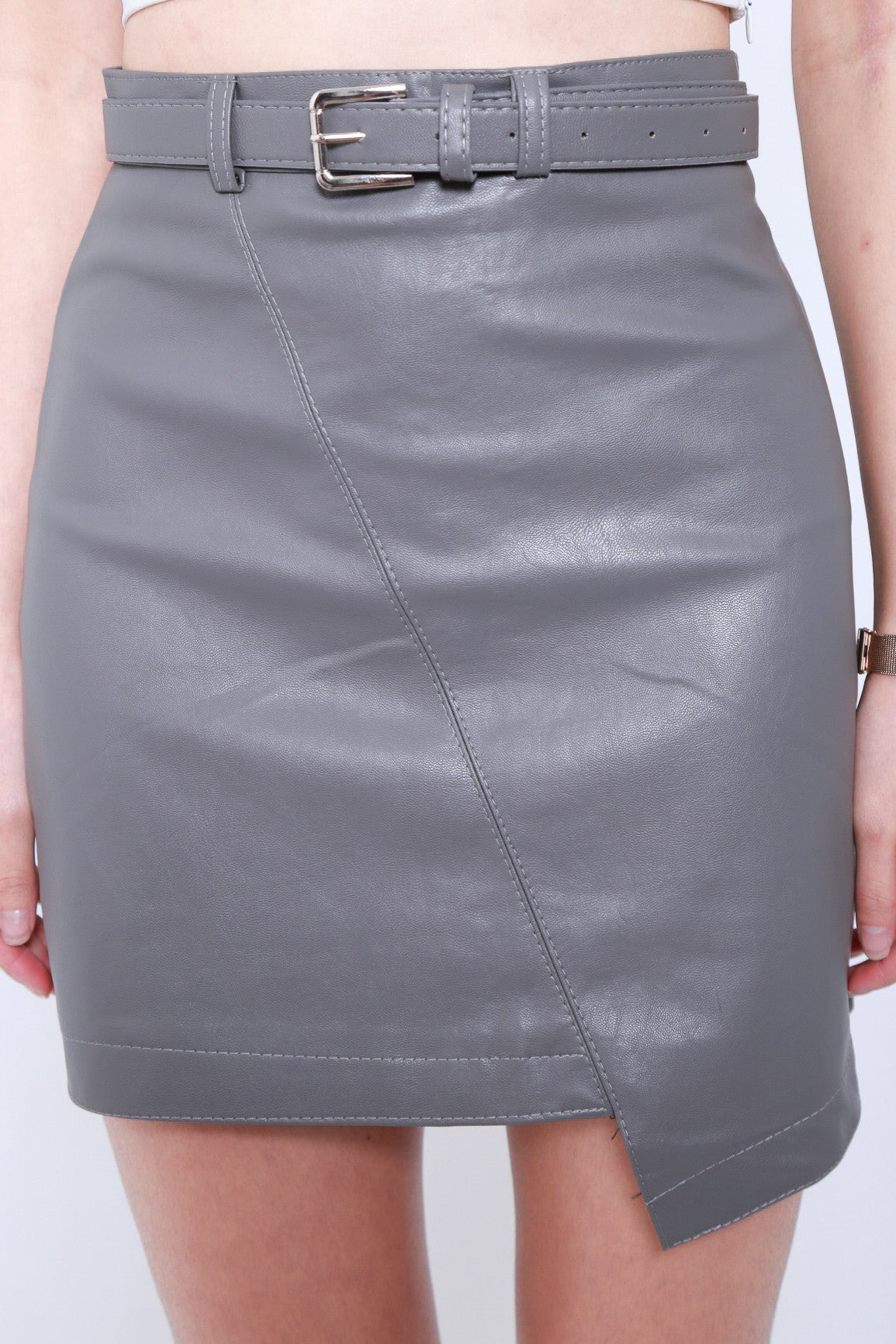 LEWIS ASYMMETRICAL LEATHER SKIRT IN GREY