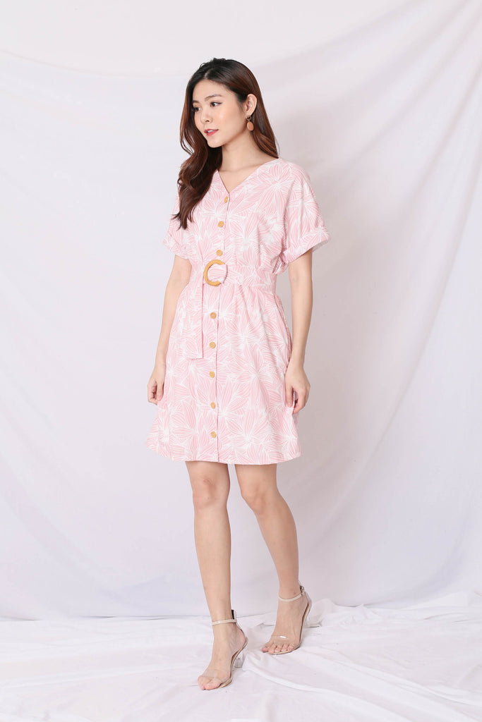 (PREMIUM) RILEY KIMONO BUTTON DOWN DRESS IN BABY PINK