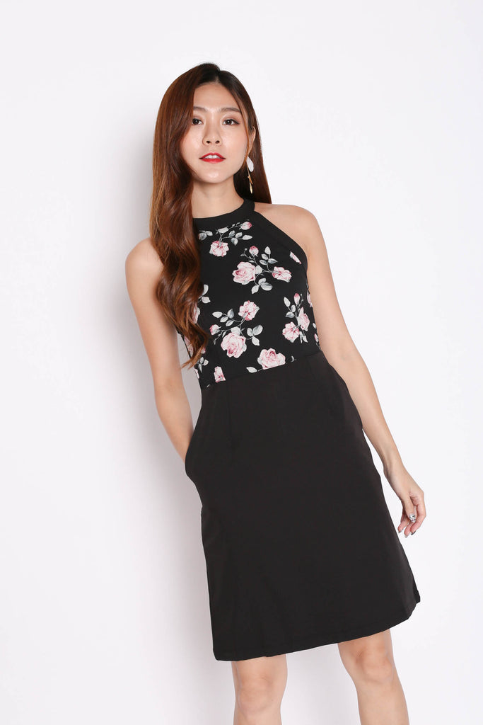 *TPZ* (PREMIUM) DACI FLORAL HALTER DRESS IN BLACK - TOPAZETTE