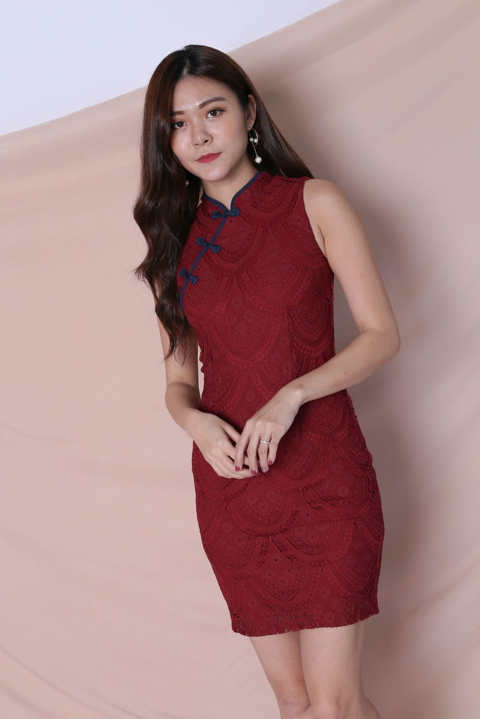 *TPZ* (PREMIUM) DEANN LACE CHEONGSAM DRESS IN WINE