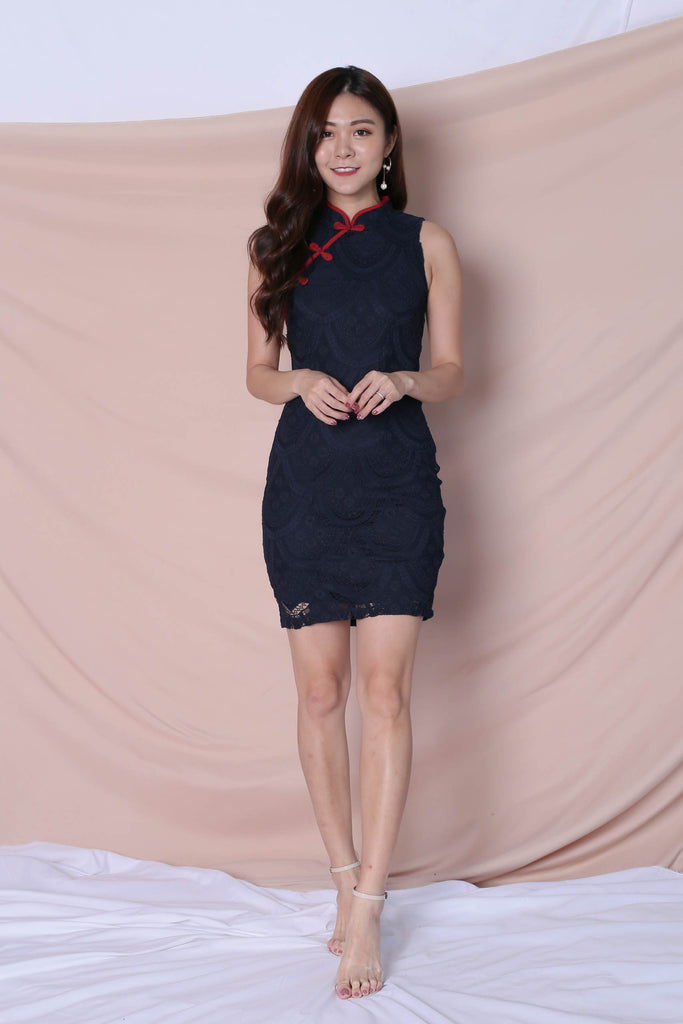 *TPZ* (PREMIUM) DEANN LACE CHEONGSAM DRESS IN NAVY