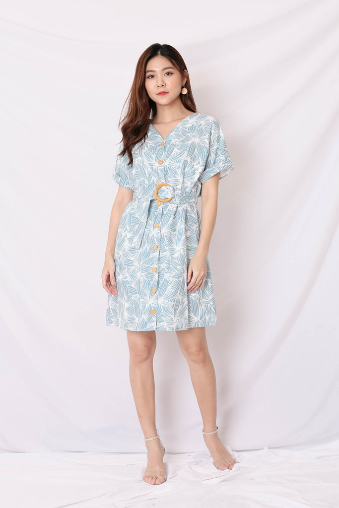 (PREMIUM) RILEY KIMONO BUTTON DOWN DRESS IN BABY BLUE