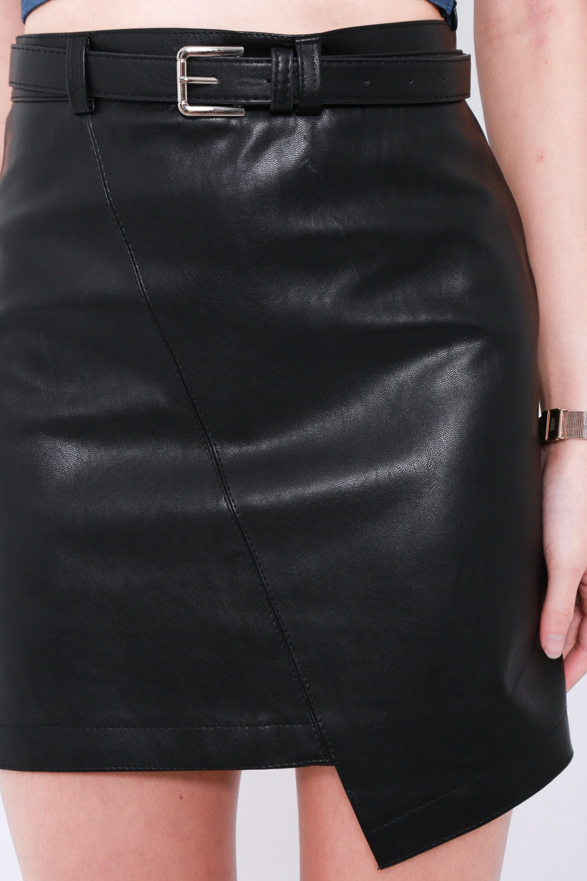 LEWIS ASYMMETRICAL LEATHER SKIRT IN BLACK
