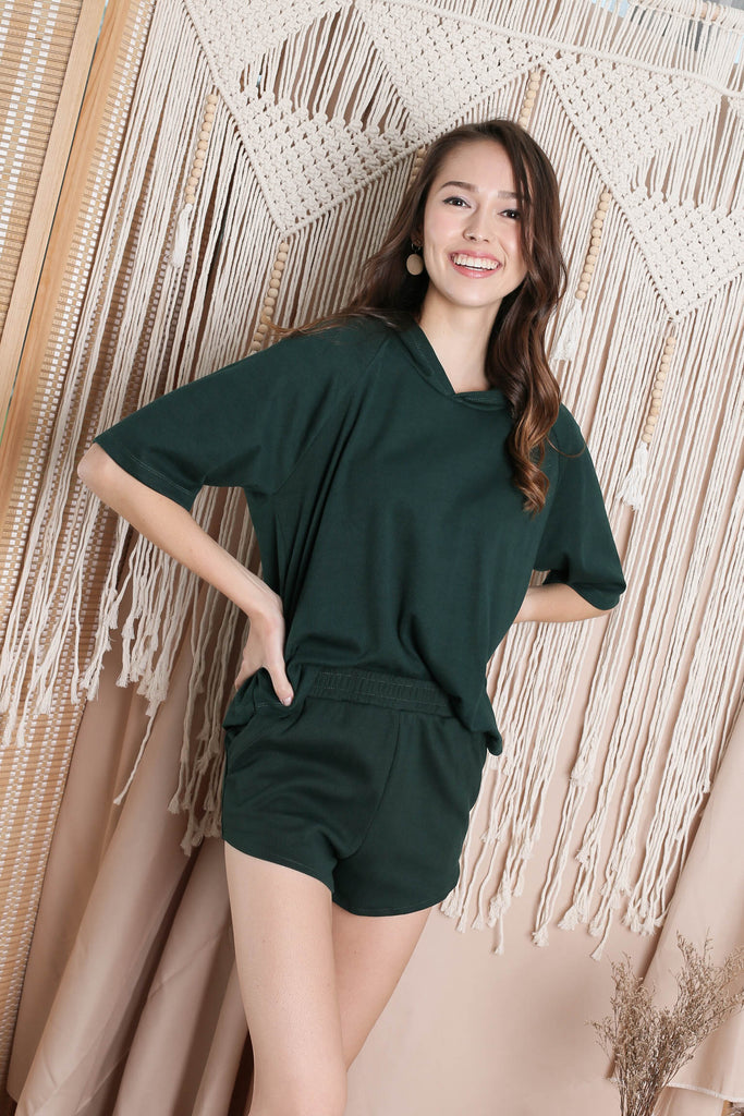 IMANI 2 PC HOODIE AND SHORTS SET IN FOREST