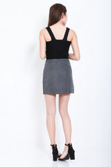 INNIS FELT SKIRT IN GREY - TOPAZETTE