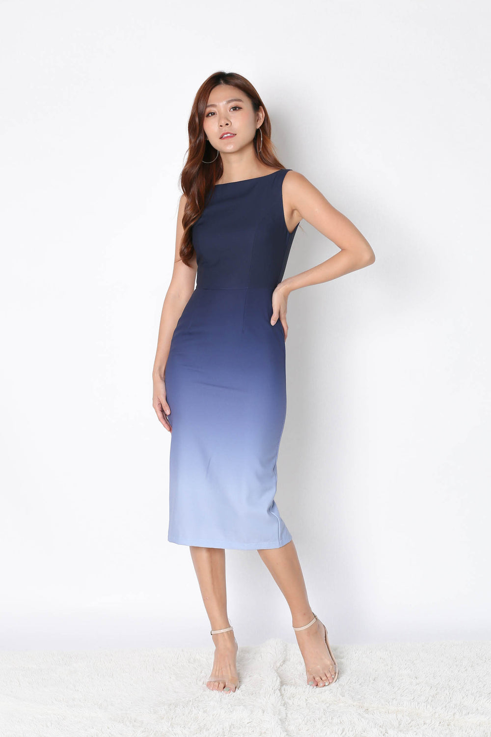 *TPZ* (PREMIUM) CLASSIC BODYCON MIDI OMBRE DRESS (NAVY/ GREY)