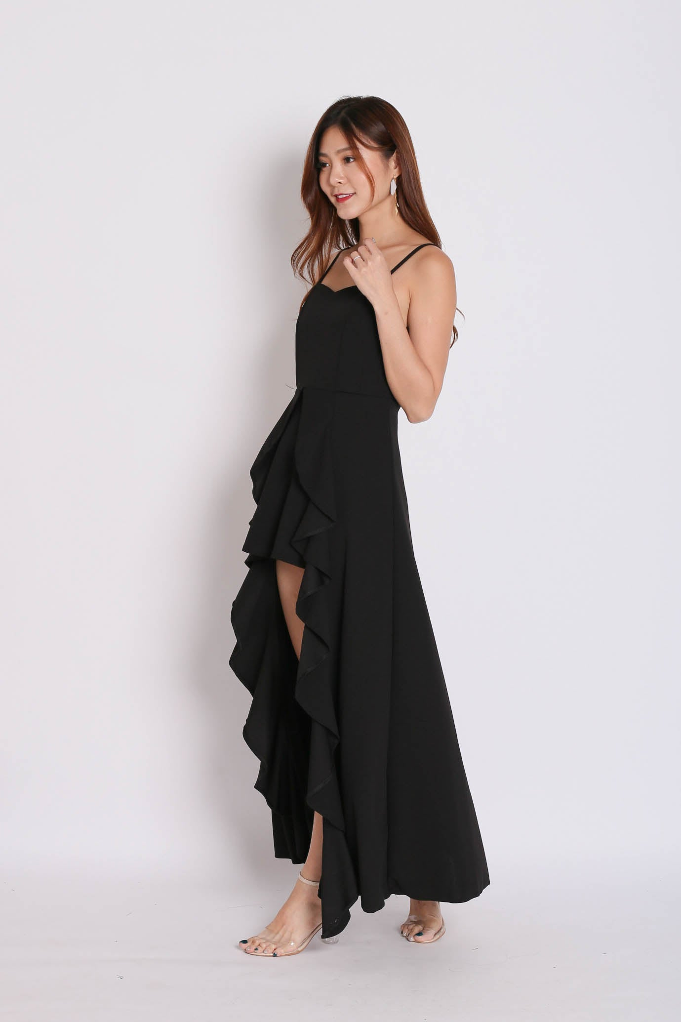 DIVA RUFFLES DRAPE DRESS IN BLACK