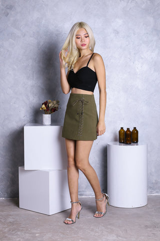 SUEDE LACED UP SKIRT IN OLIVE