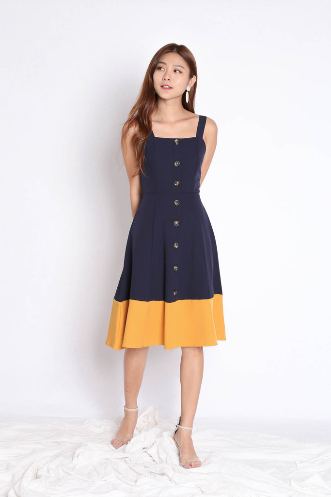 *TPZ* (PREMIUM) GAYEL BUTTON DOWN DRESS IN NAVY/MUSTARD - TOPAZETTE