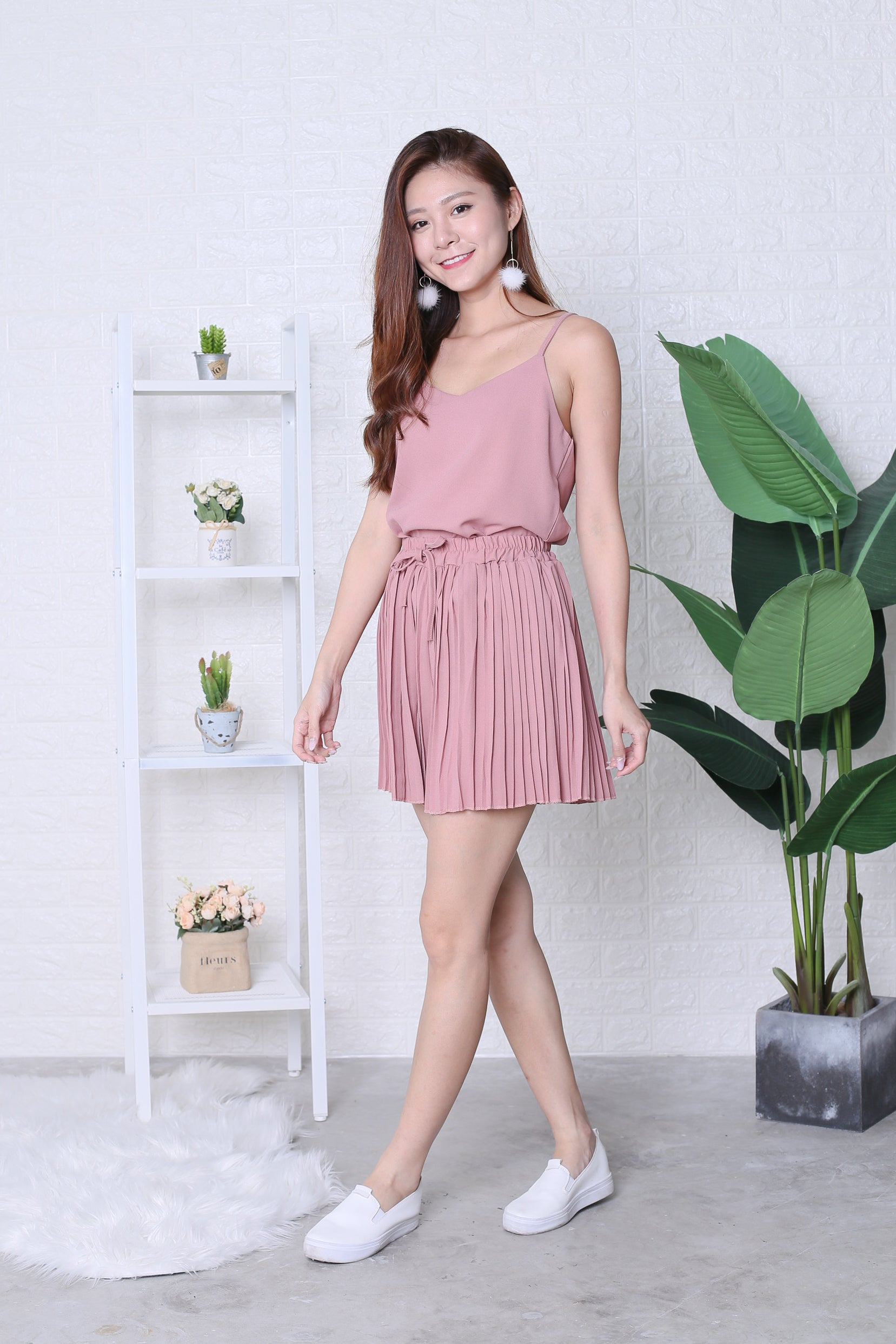 PLEATED DREAMS 2 PC SET IN DUSTY PINK