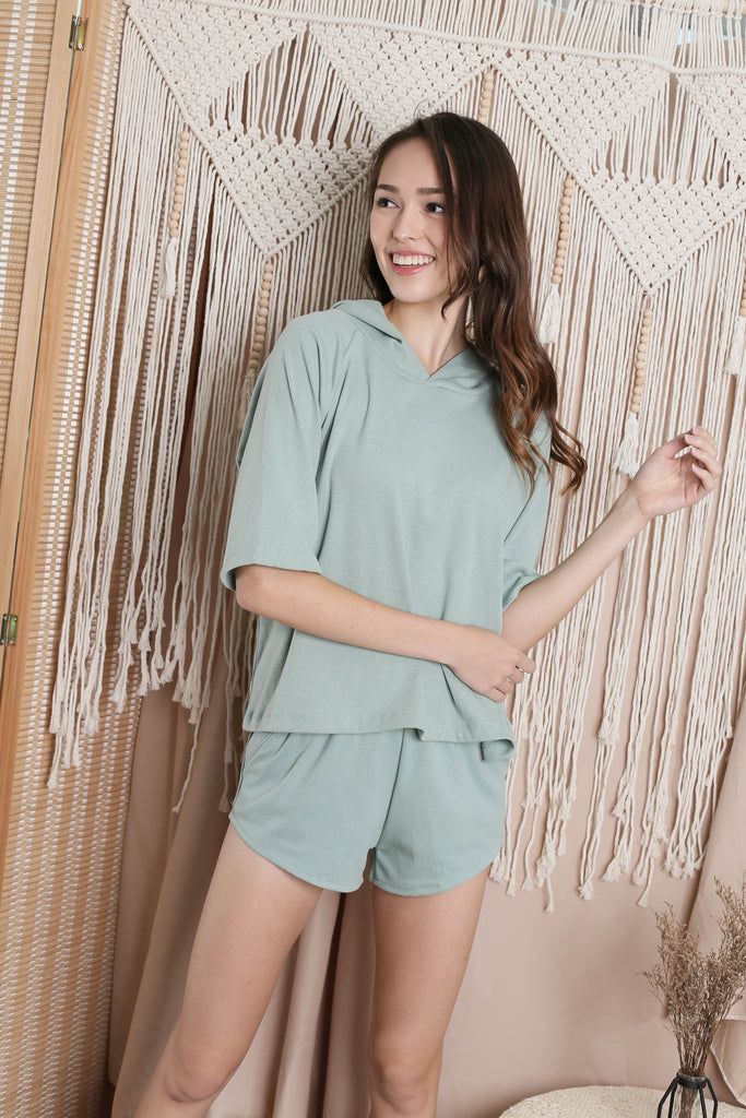 IMANI 2 PC HOODIE AND SHORTS SET IN SAGE