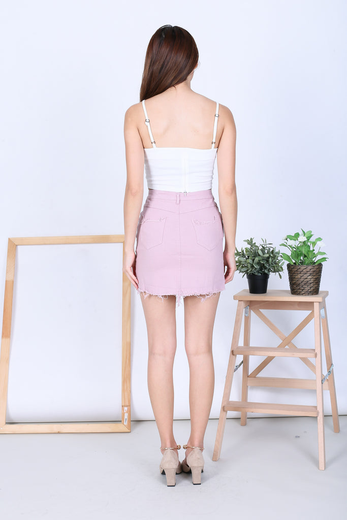 ZAIRE HI LOW DENIM SKIRT IN BLUSH