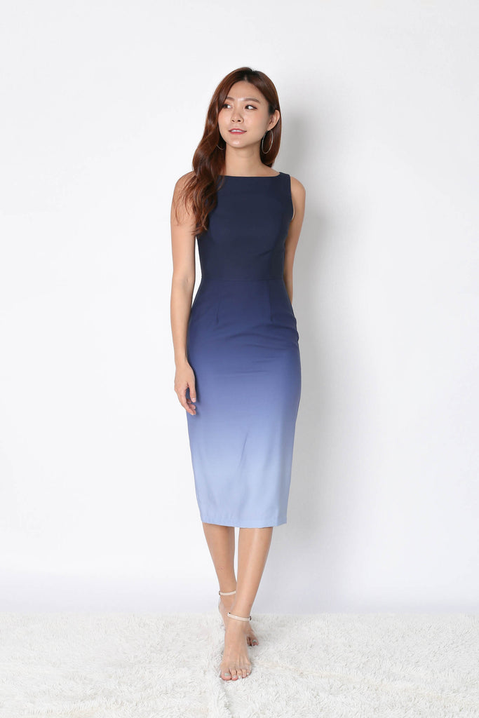 *TPZ* (PREMIUM) CLASSIC BODYCON MIDI OMBRE DRESS (NAVY/ GREY) - TOPAZETTE