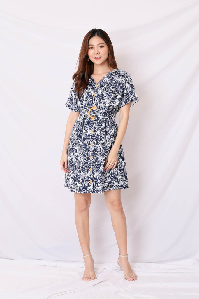 (PREMIUM) RILEY KIMONO BUTTON DOWN DRESS IN NAVY