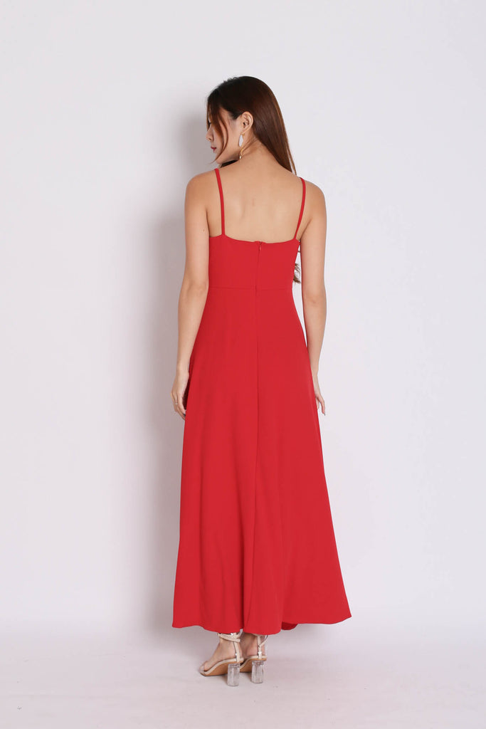 DIVA RUFFLES DRAPE DRESS IN RED - TOPAZETTE