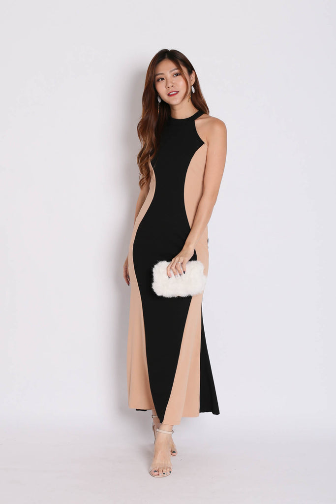 VEL HOURGLASS DRESS (NUDE/ BLACK) - TOPAZETTE