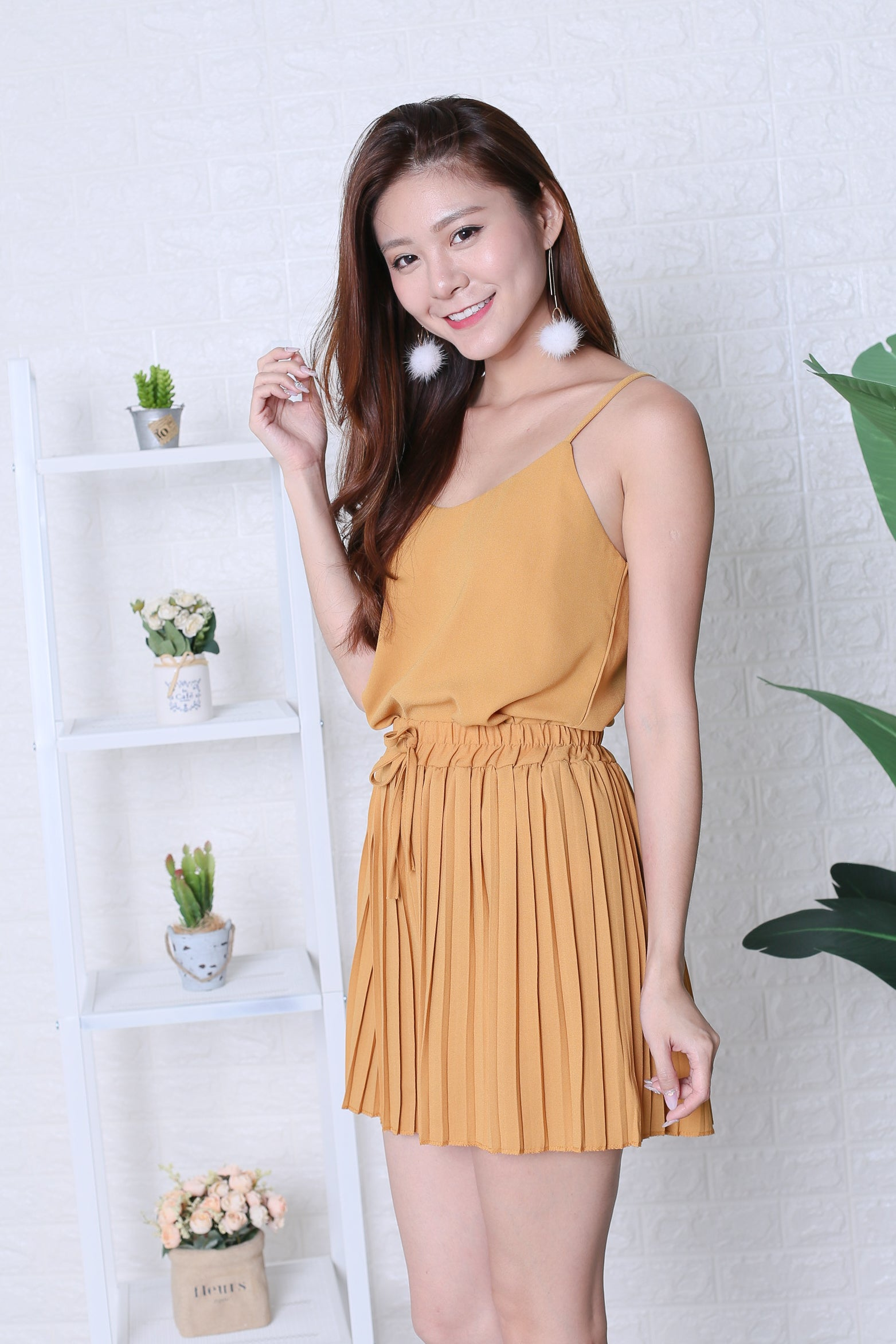 PLEATED DREAMS 2 PC SET IN MARIGOLD