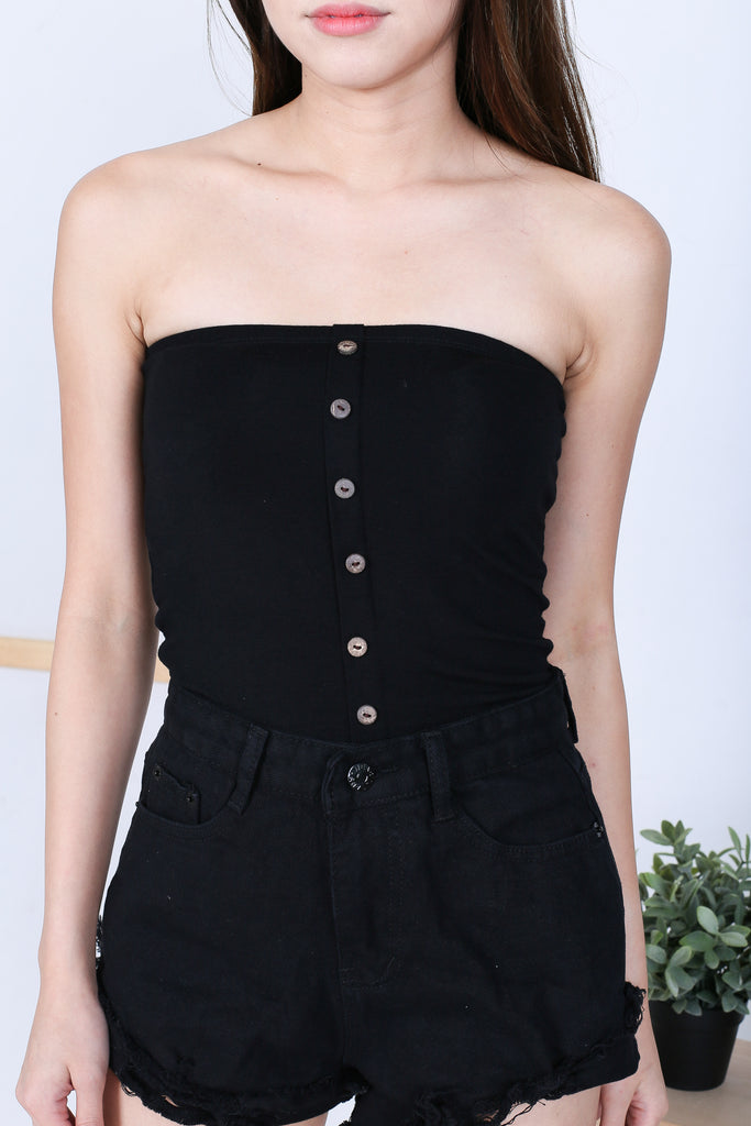 BASIC FAUX BUTTON TUBE TOP IN BLACK - TOPAZETTE
