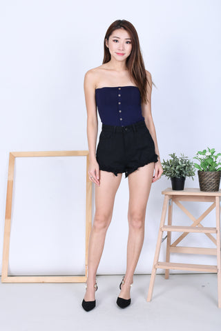 *BACKORDER* BASIC FAUX BUTTON TUBE TOP IN NAVY