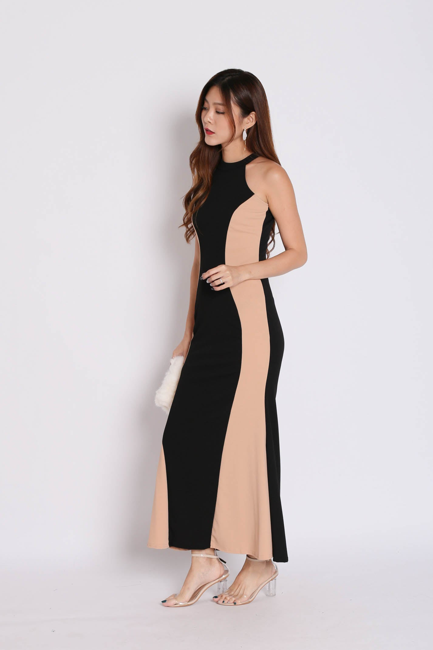 VEL HOURGLASS DRESS (NUDE/ BLACK)