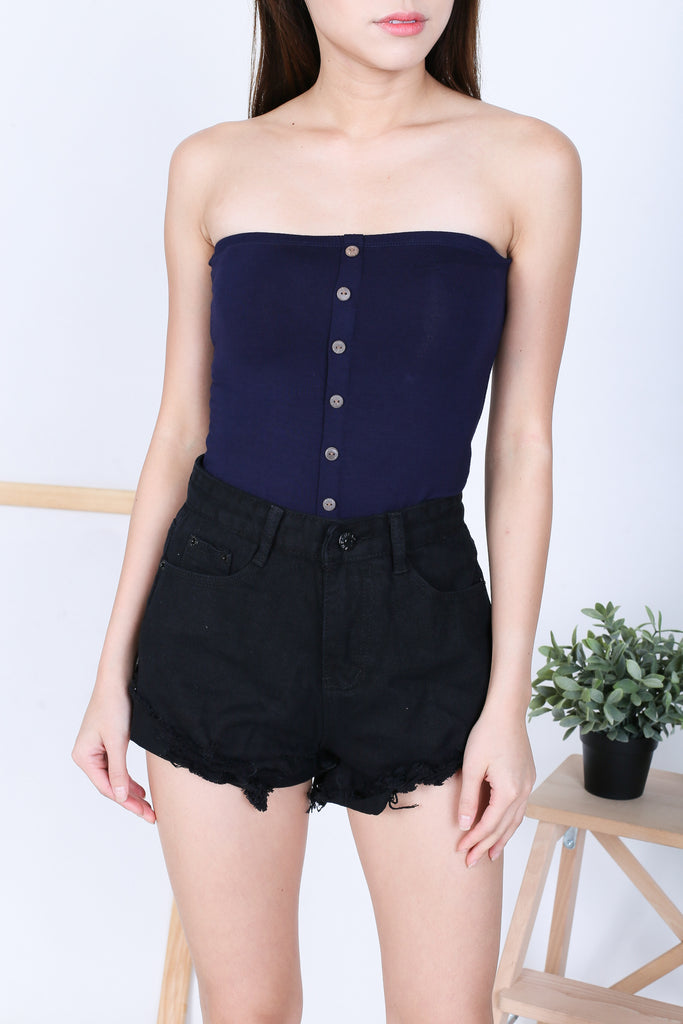 BASIC FAUX BUTTON TUBE TOP IN NAVY - TOPAZETTE