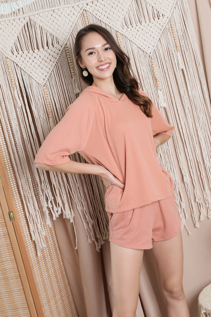 IMANI 2 PC HOODIE AND SHORTS SET IN PEACH