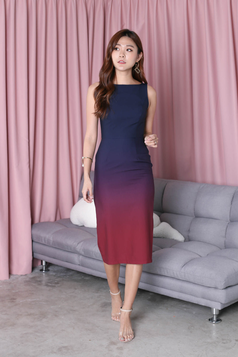 *TPZ* (PREMIUM) CLASSIC BODYCON MIDI OMBRE DRESS (NAVY/ BURGUNDY)