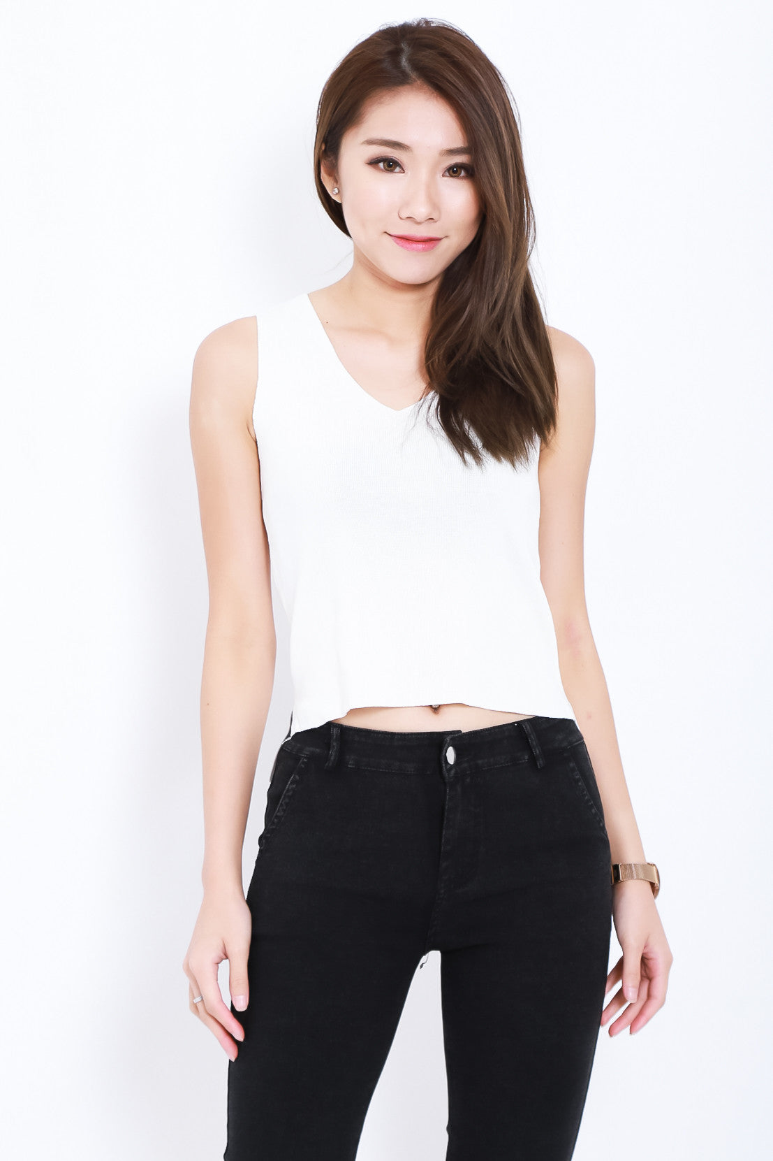 AREZ SHOELACE KNIT TOP IN WHITE - TOPAZETTE