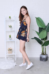 MAYCE FLORAL ROMPER IN NAVY