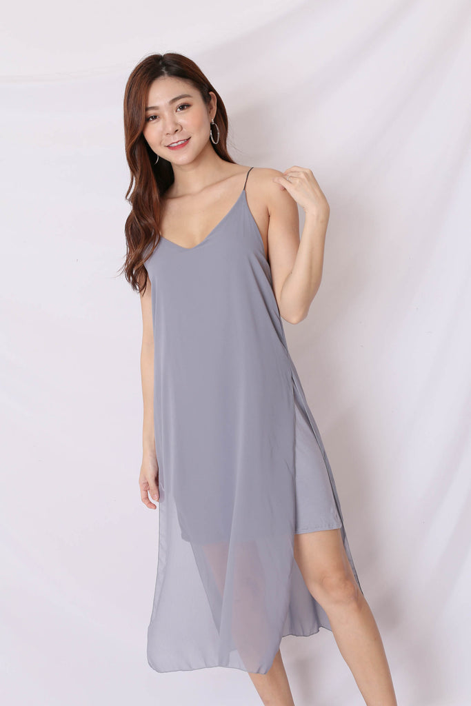 GEN BASIC DRESS IN DARK GREY