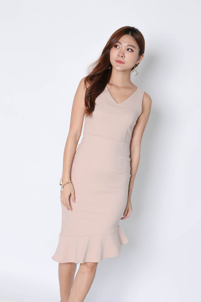 *TPZ* (PREMIUM) MERMAID ASYMMETRICAL BODYCON DRESS IN NUDE