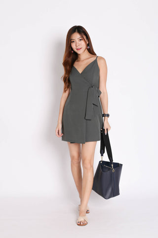 *TPZ* (PREMIUM) HUDSON WRAP DRESS IN GREYISH GREEN