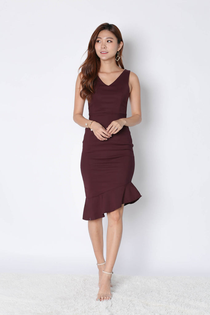 *TPZ* (PREMIUM) MERMAID ASYMMETRICAL BODYCON DRESS IN PLUM
