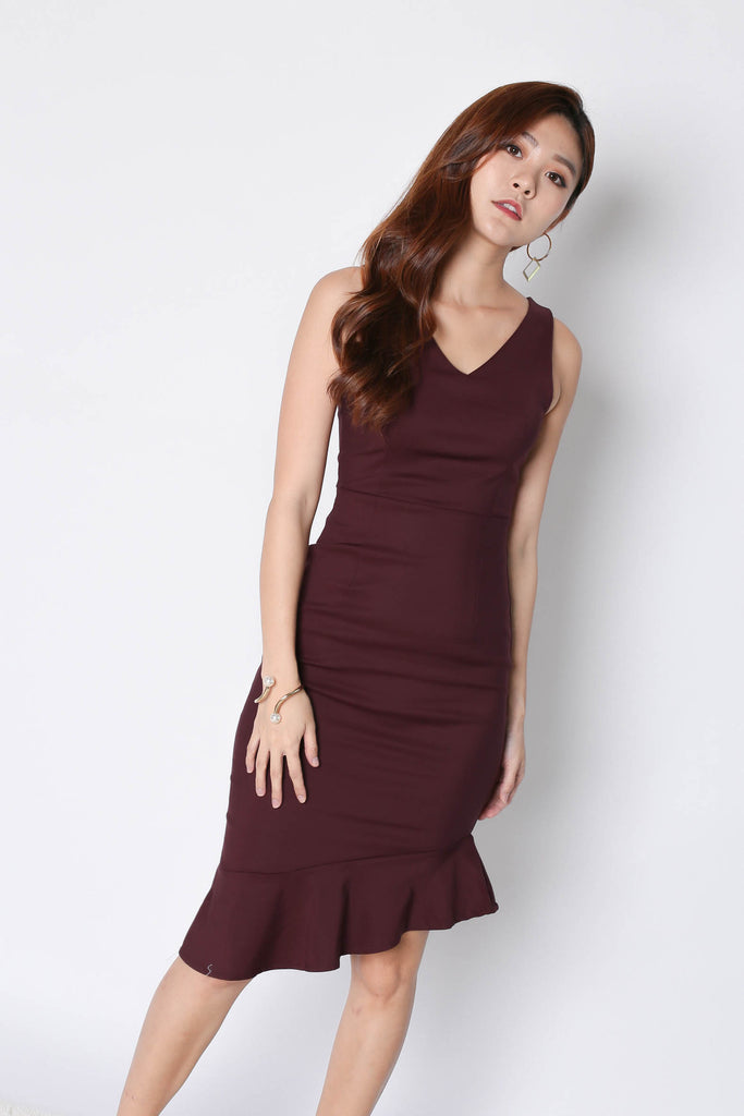 *TPZ* (PREMIUM) MERMAID ASYMMETRICAL BODYCON DRESS IN PLUM - TOPAZETTE
