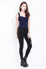 *RESTOCKED* STAY CLOSE SLIT JEGGINGS IN BLACK - TOPAZETTE