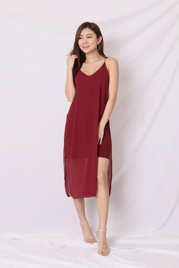 GEN BASIC DRESS IN WINE