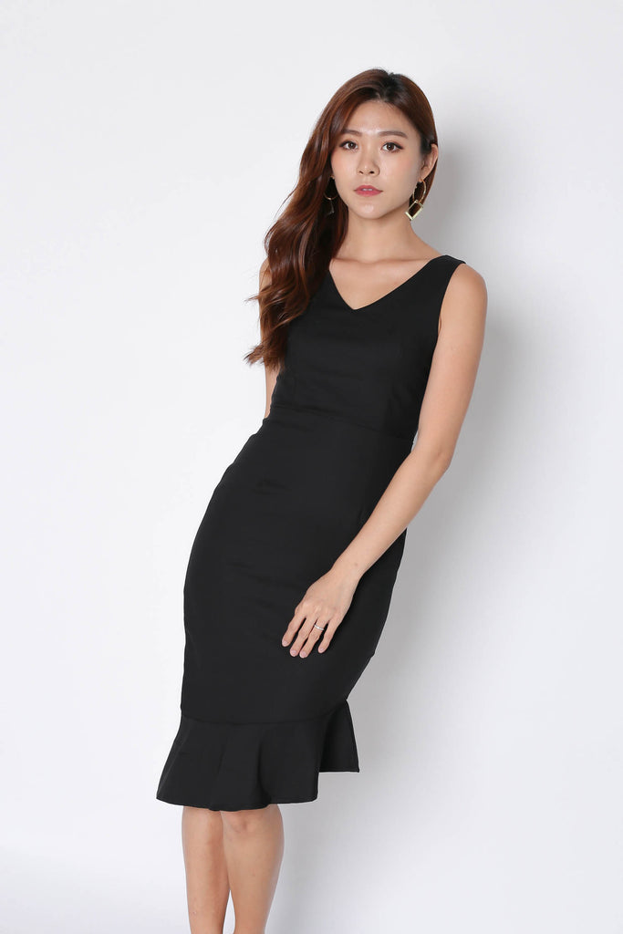 *TPZ* (PREMIUM) MERMAID ASYMMETRICAL BODYCON DRESS IN BLACK