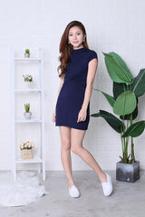 BASIC HIGH NECK KNOTTED TEE DRESS IN NAVY