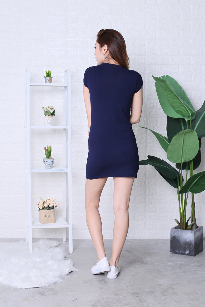 BASIC HIGH NECK KNOTTED TEE DRESS IN NAVY - TOPAZETTE