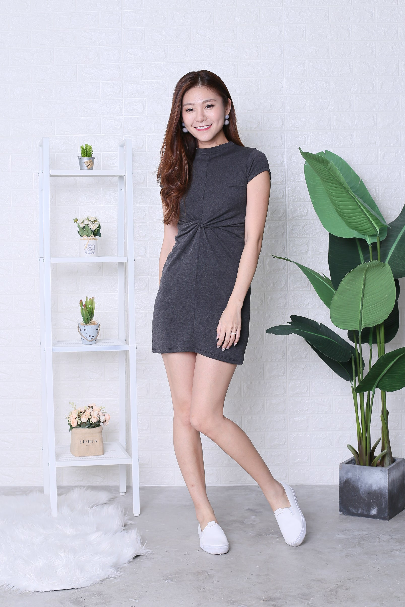 *BACKORDER* BASIC HIGH NECK KNOTTED TEE DRESS IN DARK GREY