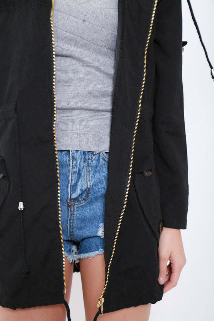 *RESTOCKED* JEN EVERYDAY HOODED PARKA IN BLACK - TOPAZETTE
