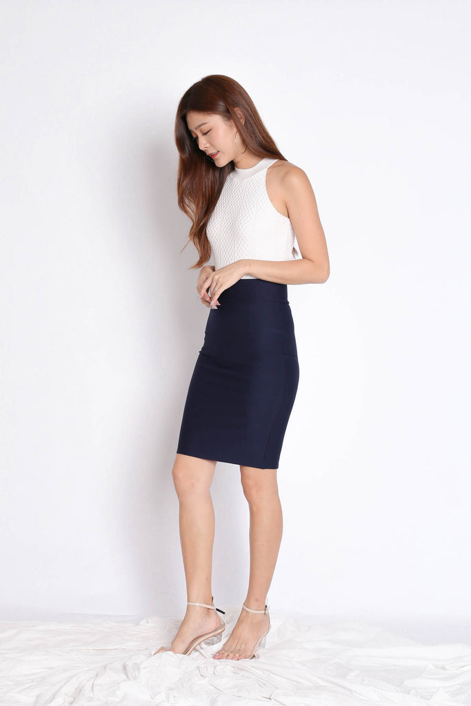 *BACKORDER* CLASSIC BODYCON SKIRT IN NAVY - TOPAZETTE