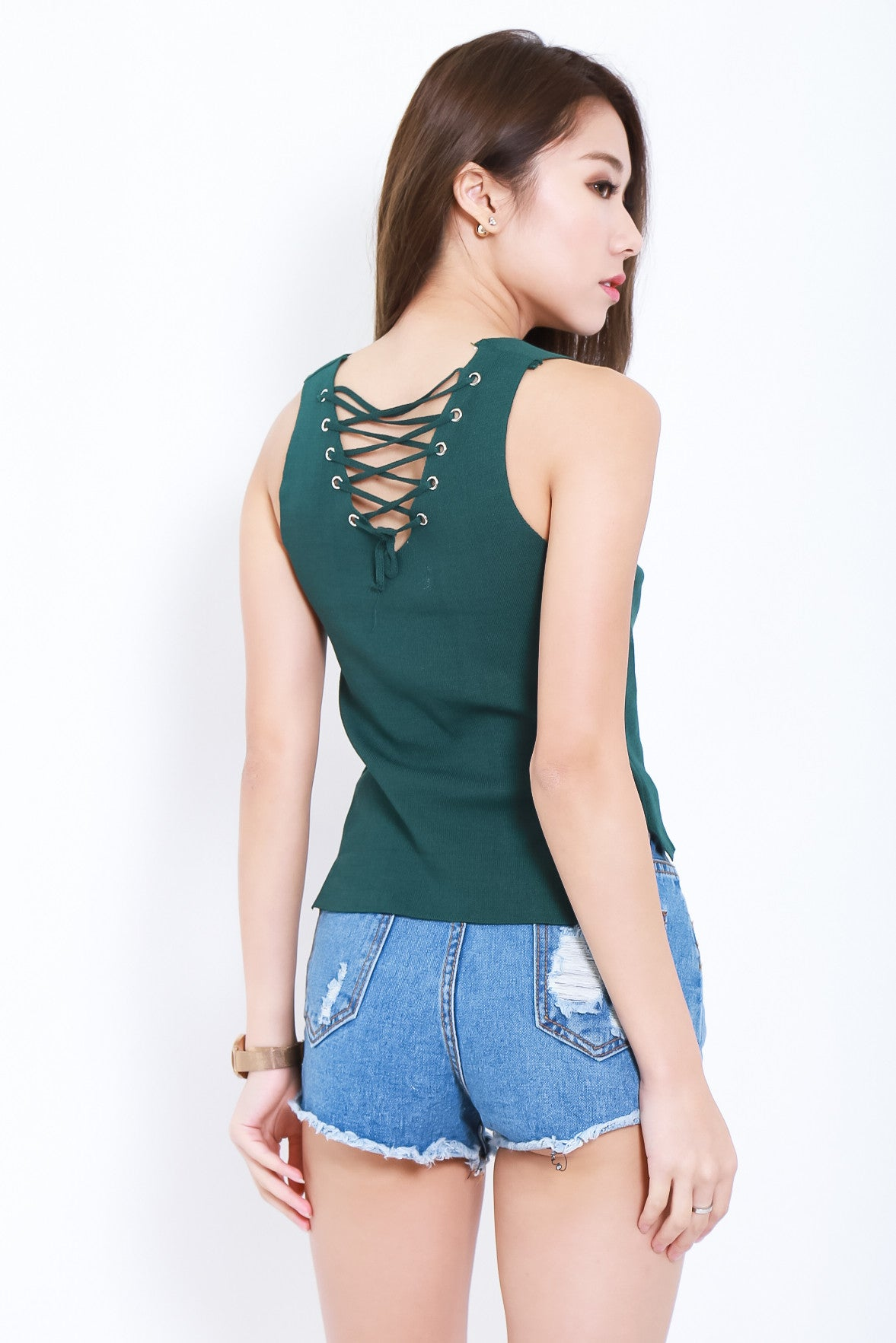 AREZ SHOELACE KNIT TOP IN FOREST - TOPAZETTE